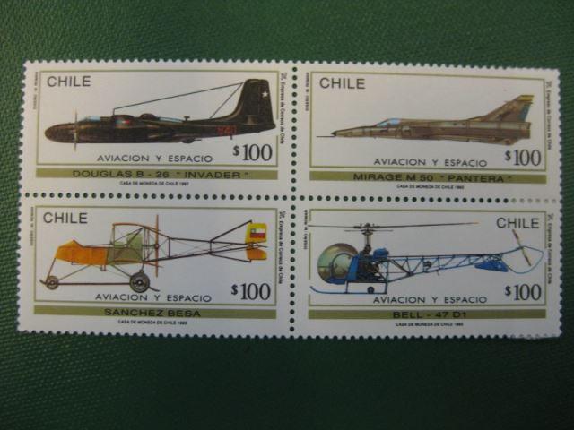 Flugzeuge, Chile, 4 Werte, Viererblock