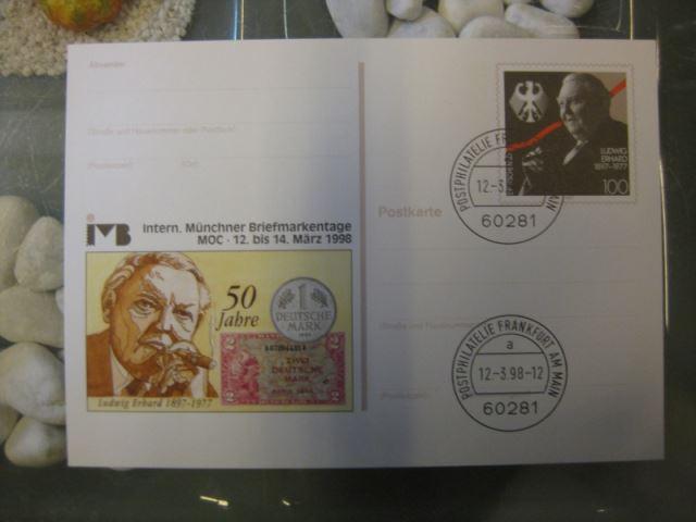 Ganzsache 50 Jahre Deutsche Mark D-Mark, Internationale Münchner Briefmarkentage 1997