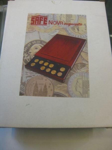Münzen-Schubladenelement aus Holz (Münzenbox) NOVA exquisite von SAFE, stapelbar; Quadratische Inneneinteilung: für 30 Münzen bis Durchmesser 30 mm
