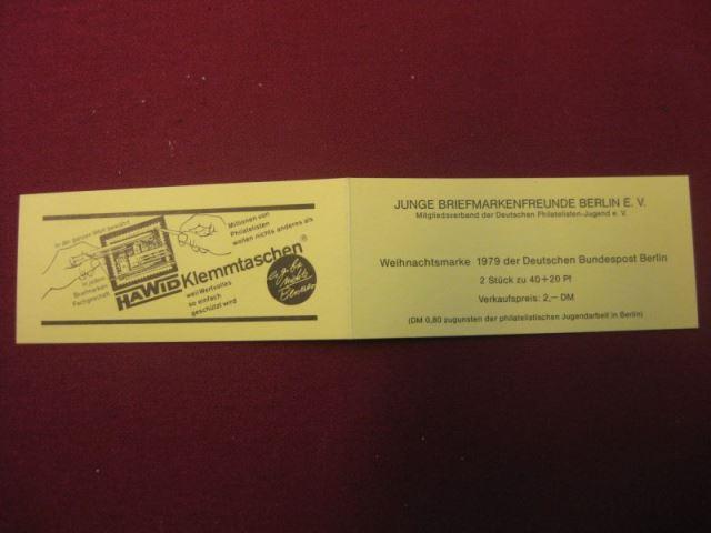 Markenheft Junge Briefmarkenfreund Berlin, MH Nr. 4, Weihnachtsmark 1979 Berlin