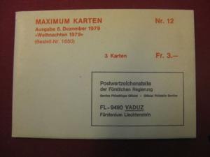 MK Liechtenstein, Maximumkarten Weihnachten 1979