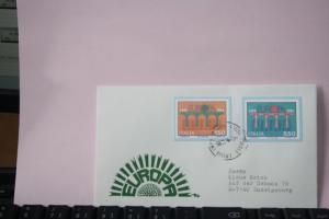 Italien 1984, CEPT, EUROPA-UNION, Geschnittene, ungezähnte Marken aus Ministerblatt in Originalfarbe  und - Originalgröße, Faksimile auf befördertem Schmuckbrief