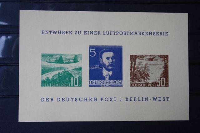 Luftpostmarkenserie der Deutschen Post Berlin, 2 Essays von Entwürfen,