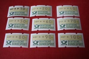 ATM - Lot, Ausgabe BRD 1981 mit 21 Werten von 10 Pf.- bis 300 Pf