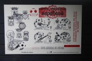 Spanien, Offizieller Schwarzdruckblock/Gedenkblock der EXPOFIL-Weltaustellung und Fußball-WM 1982