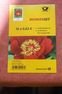 Folienblatt, FB 42, Markenset  Freimarke Blumen: Pfingstrose