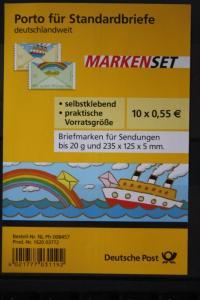 Folienblatt FB-MiNr. 13; Markenset, Grußmarken: Schiff/Regenbogen