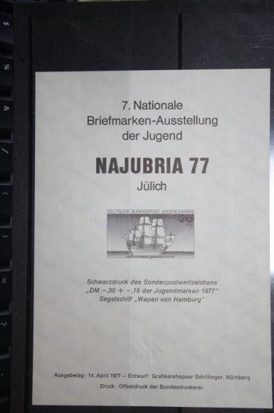 Schwarzdruck NAJUBRIA 77;  Segelschiff Wappen von Hamburg; Faksimile