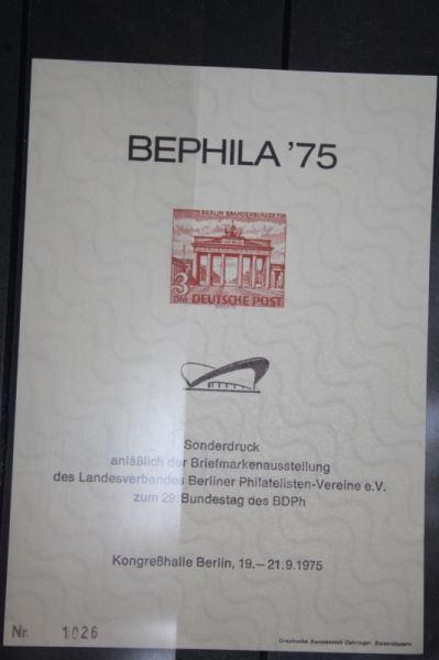 BEPHILA 1975 Berlin, Sonderdruck/Faksimile der MiNr. 59