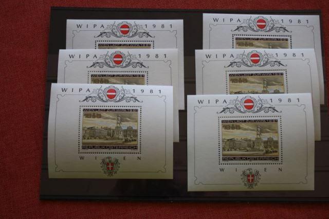 WIPA 1981 Wien; incl. der 216 seitigen Festschrift zum 100. jährigen Jubiläum, den Phasendrucken, Schwarzdrucken u. d. m. 6