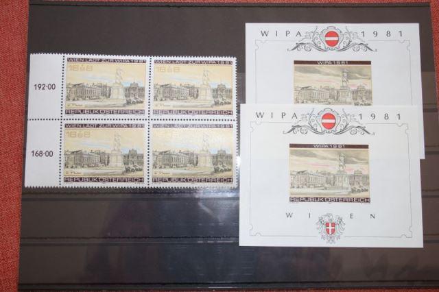 WIPA 1981 Wien; incl. der 216 seitigen Festschrift zum 100. jährigen Jubiläum, den Phasendrucken, Schwarzdrucken u. d. m. 7
