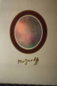Mozart Hologramm-Klappkarte mit Mozartblock und beiden ESST