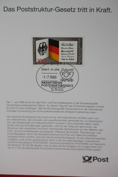 Erinnerungsblatt der Deutsche Post ; Poststrukturgesetz 1989