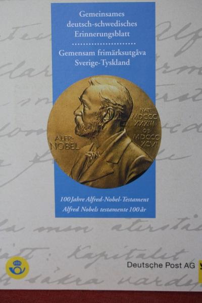 Erinnerungsblatt der Deutsche Post ; Nobel-Testament