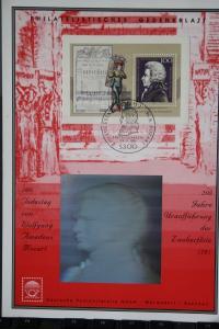 Gedenkblatt Mozart mit Hologramm