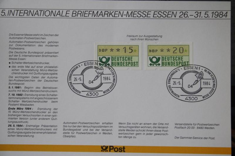 Erinnerungsblatt der Deutsche Post ; Messe Essen 1984
