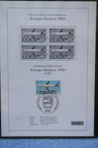 Schwarzdruck EUROPA-Marken 1988; CEPT 1988 Bundesrepublik