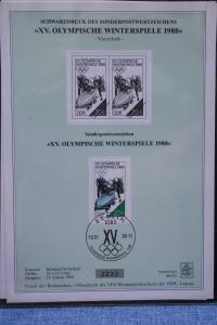 Schwarzdruck DDR : XV. Olympische Winterspiele 1988