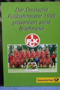 Erinnerungsblatt EB 4/1998; Gedenkblatt; 1. FCK Deutscher Fußballmeister