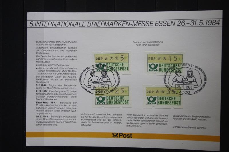 Erinnerungsblatt, Stempelkarte der Deutsche Post ; Messe Essen 1984