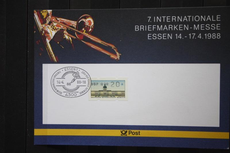 Erinnerungsblatt, Stempelkarte der Deutsche Post ; Messe Essen 1988
