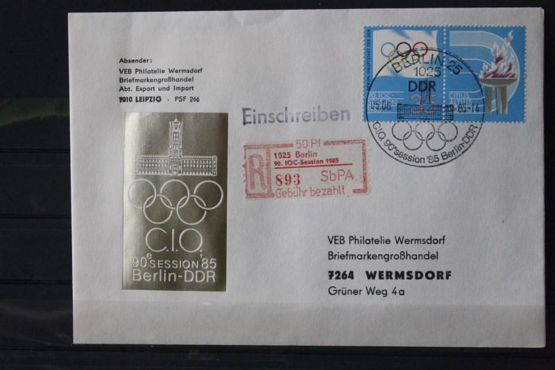 DDR Einschreibemarke für SbPÄ:  Berlin 1025 : 90. IOC-Session auf Brief mit Quittung