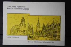 750 Jahre Hannover; Edition Hannover/Leipzig ; Klappkarte