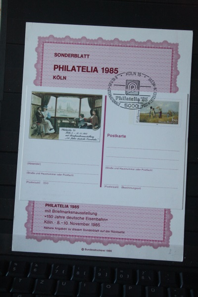 Sonderblatt zur Sonderganzsache PHILATELIA 1985 Köln