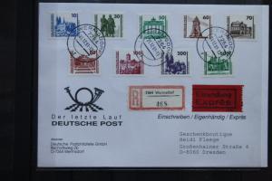 Freimarken: Bauwerke und Denkmäler 1990; Letzttagsbrief, Einschreiben, Eilsendung