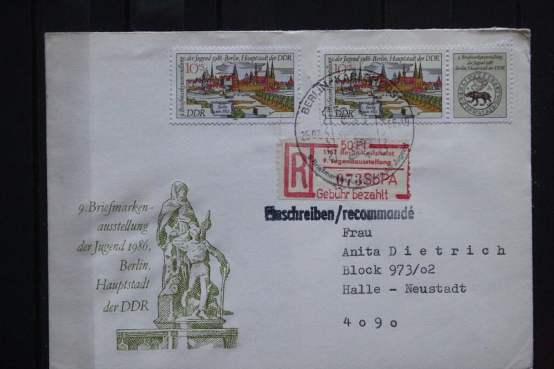 9. Jugendausstellung Berlin-Karlshorst 1986, Einschreiben mit Einlieferungs-Quittung