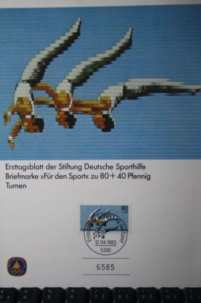 Sporthilfe Ersttagsblatt 1883, Ausgabe Bonn; Turnen