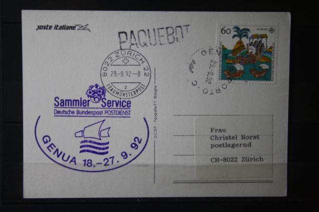 Ausstellungskarte der Italienischen Post zur Genova 92 mit Ausstellungsstempel Sammler Service POSTDIENST; Stempel Genua Hafen; Paquebot