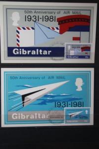 Gibraltar; 50 Jahre Luftpost; Maximumkarten 1981