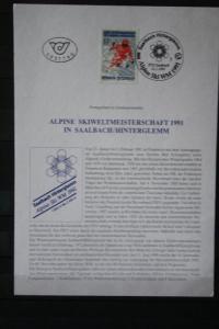 Ersttagsblatt; ETB Alpine Ski-WM 1991