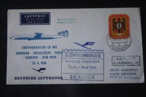 Deutsche Lufthansa; Eröffnungsflug 1956 Hamburg-Düsseldorf-Paris-Shannon-New York