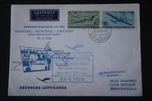 Deutsche Lufthansa; Eröffnungsflug LH 432; 1956 Hamburg-Mancester-Montreal Chicago New York