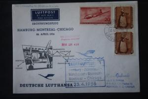 Deutsche Lufthansa; Eröffnungsflug LH 430; 1956 Hamburg-Düsseldorf-Mancester-Montreal Chicago New York