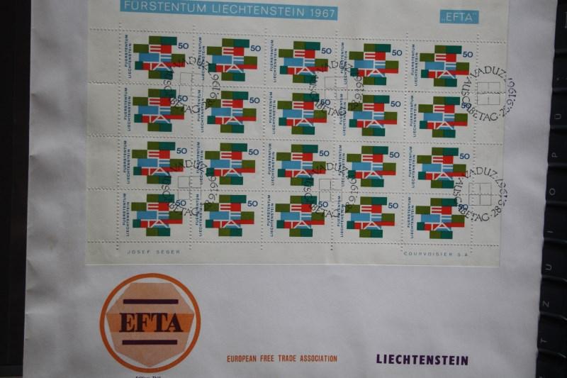 Liechtenstein Kleinbogen  EFTA 1967 FDC