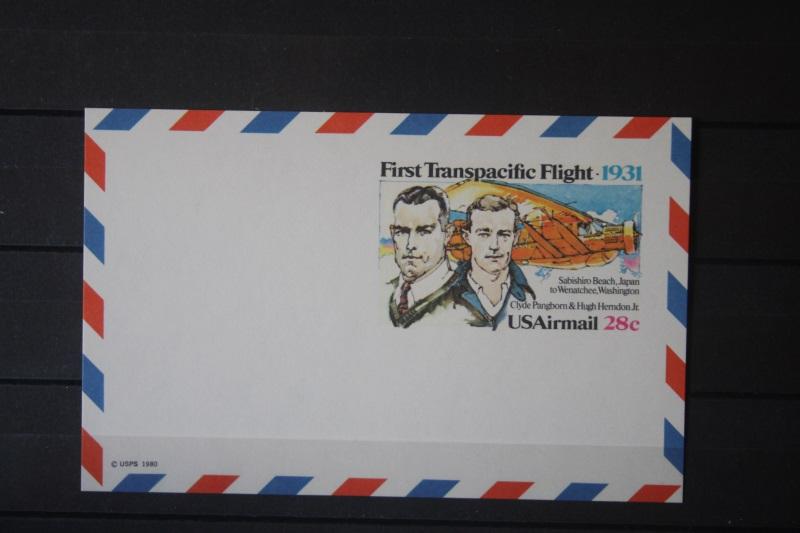 USA Ganzsache Ganzsachenkarte 1980, Airmail, First Transpacific Flight, 28 Cent