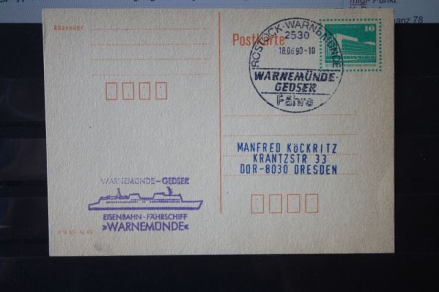 Fähre Warnemünde-Gedser; Fährschiff Warnemünde, Ganzsache