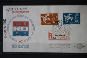 Niederlande, CEPT, EUROPA-UNION 1961, Einschreiben,  FDC
