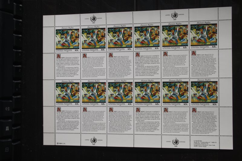 UNO New York Menschenrechte 1989 Kleinbogen; Zusammendruckbogen