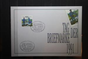 Gedenkblatt / Erinnerungsblatt/Stempelblatt der Deutsche Post AG/Postdienst: Tag der Briefmarke 1991