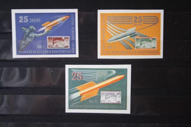 Deutschland 25 Jahre Deutscher Raketenflug; System Gerhard Zucker; kompletter Satz von 3 Vignetten