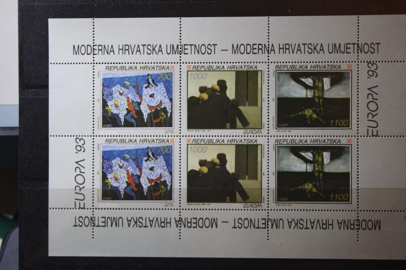 CEPT EUROPA-UNION Kroatien 1993, Kleinbogen mit unten nicht durchgezähntem Rand