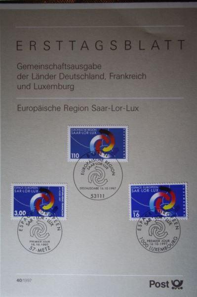 Bundesrepublik, Ersttagsblatt Europäische Region Saar-Lor-Lux 1997, Gemeinschaftsausgabe