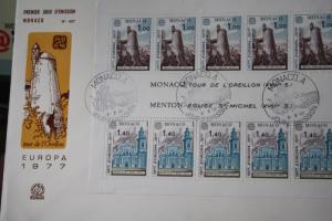 CEPT EUROPA-UNION Monaco 1977 Block auf FDC