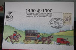Belgien 500 Jahre Post 1990, Erinnerungskarte, Ausstellungskarte. Stempelkarte, SST Brüssel