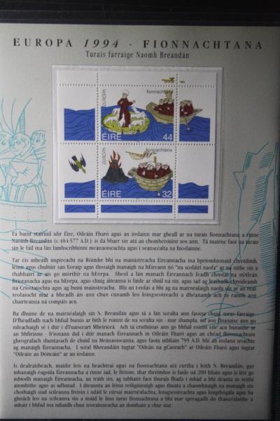 CEPT EUROPA-UNION 1994 Gemeinschaftsausgabe Irland, Island, Färöer, Folder mit Blöcken