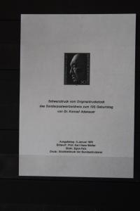 Deutschland, K. Adenauer-Schwarzdruck, Europa Union CEPT - Symphatieausgabe 1976